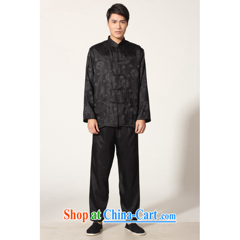 And Jing Ge older Chinese men and summer, for silk men's long-sleeved package the code men's kung fu Package - A black XXXL