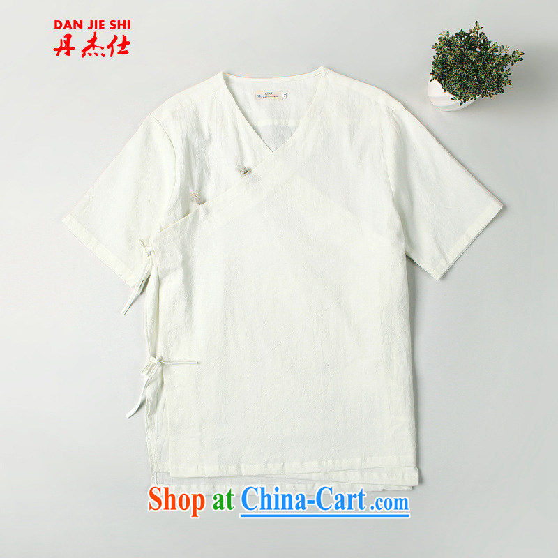 Dan Jie Shi 2015 Han-new ramp flap Chinese cotton the Chinese home service relaxed male Chinese wind-tie short sleeved T-shirt爓hite M