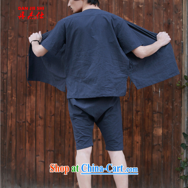 Dan Jie Shi 2015 retro Date of men's trousers in the flap is withholding the cotton pants breathable home service jogging clothes with a dark blue M