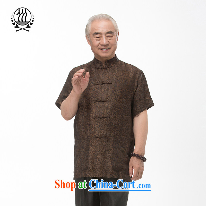 and mobile phone line short-sleeved short summer load new male fragrance cloud yarn and silk Tang replace short-sleeved shirt T-shirt, older men, Tang with the Shannon cloud yarn brown XL/180