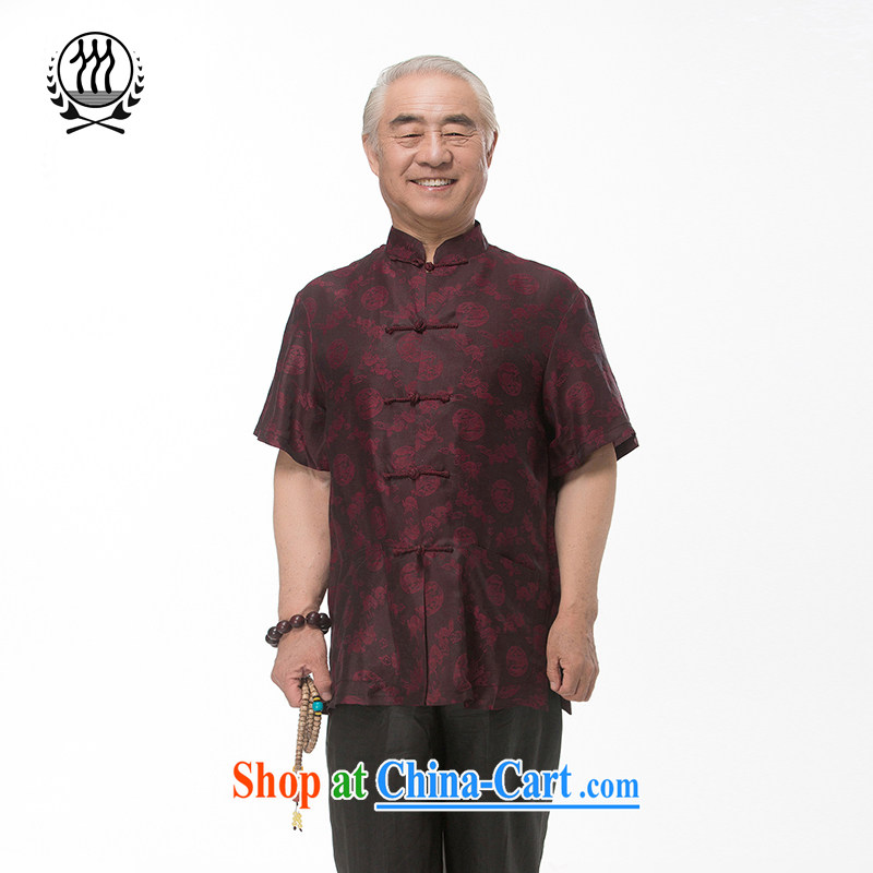 and mobile phone line short-sleeved short summer load new products men's fragrance cloud yarn and silk Tang with a short-sleeved shirt T-shirt, older men Tang with the Shannon cloud yarn dark red M_170