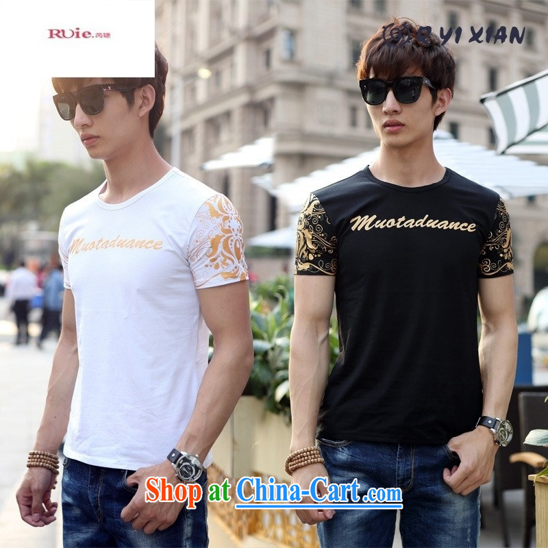 9 month female * 2015 new summer men's short-sleeved round neck stamp text T-shirt casual beauty and a white XXXL