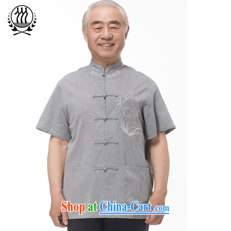explosions, and Mobile Phone Line 15 new summer Chinese men and Replacing the older summer linen Chinese short-sleeved dress boutique beige light gray optional 3 color XXXL_190