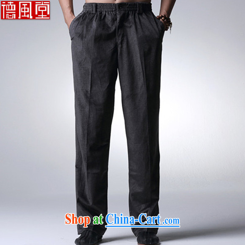 De-tong Itanium cloud autumn and winter men's short pants, thick pants business is version-the elder black XXXL