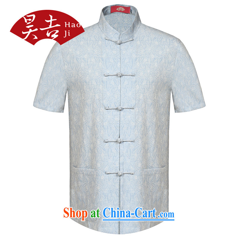 Hao, the old men Chinese T-shirt the T-shirt summer elderly half sleeve China wind T shirt shirt Dad loaded light blue XL