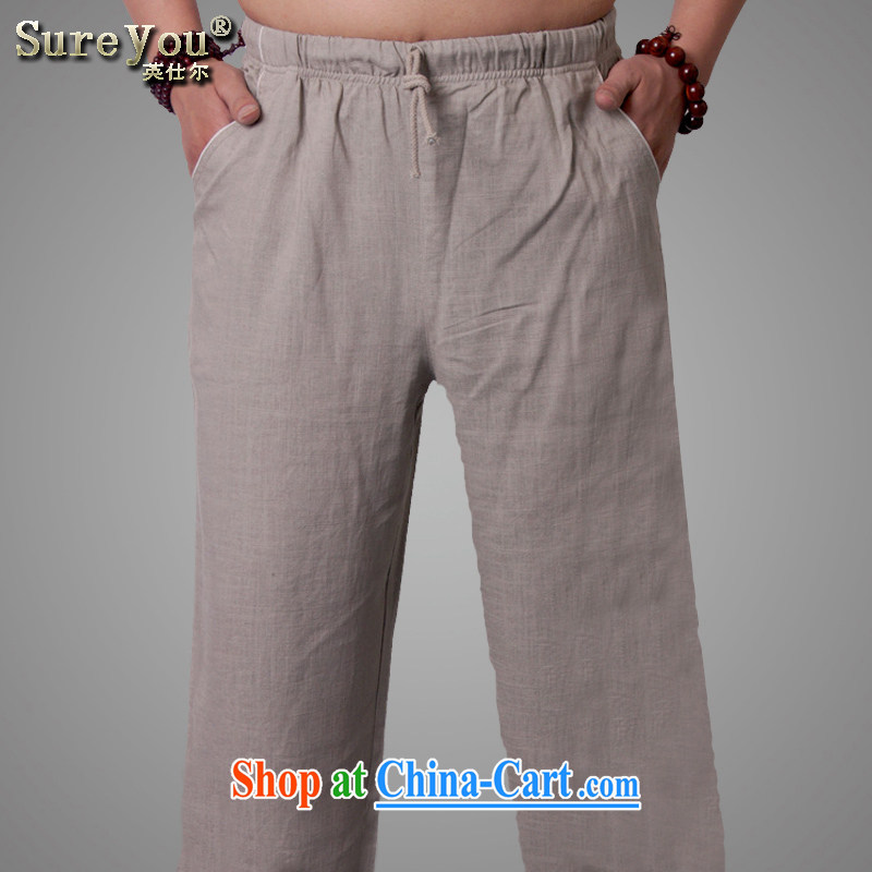 Ying Shi, China wind men's linen pants have been relaxed and cotton the middle-aged men, trousers short pants men and ethnic wind 2 175