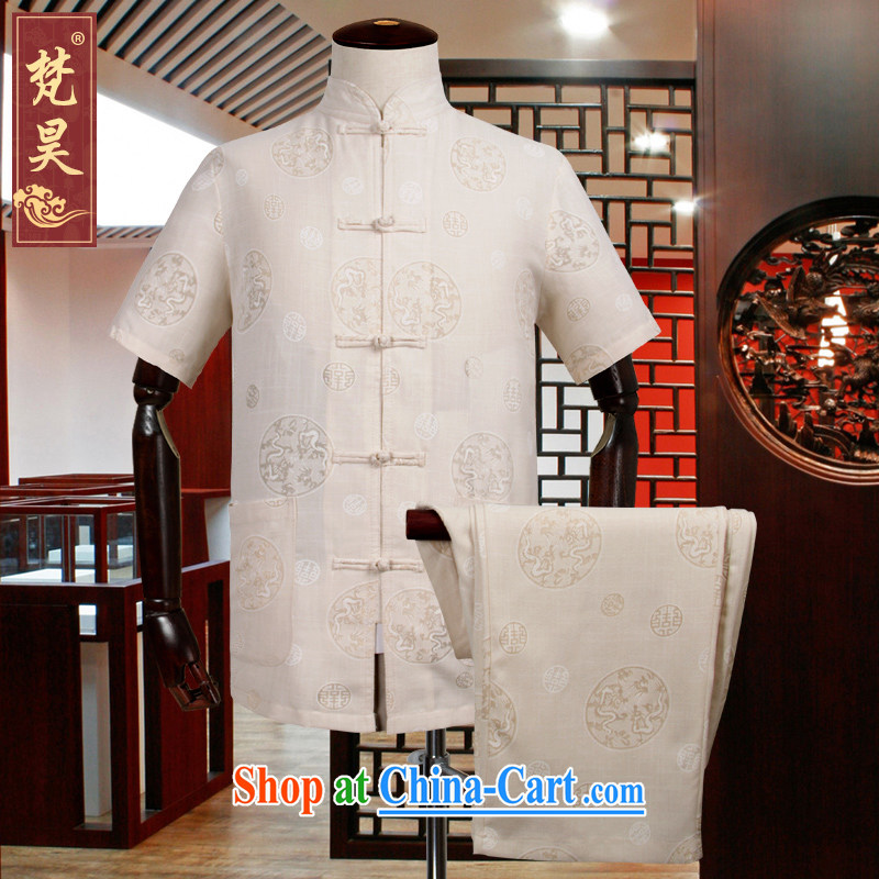 Van Gogh's annual Tang load package short-sleeved shirts men's summer new Chinese the gray dot Kowloon Chinese male TDM 510 m yellow 3 XL