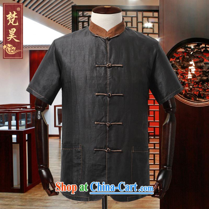 Van Gogh's annual Chinese men's short-sleeved T-shirt summer new Chinese standard incense cloud yarn silk shirt DX 09 yellow collar 2 XL