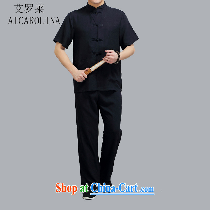 The summer, middle-aged men's Tang replace short-sleeved Kit middle-aged and older persons China wind men's elderly grandparents summer shirt black 4 XL/190