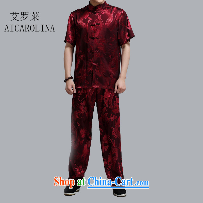 The summer, men, older short-sleeved Tang load package of older persons leisure Chinese men father loaded the red 4 XL_190