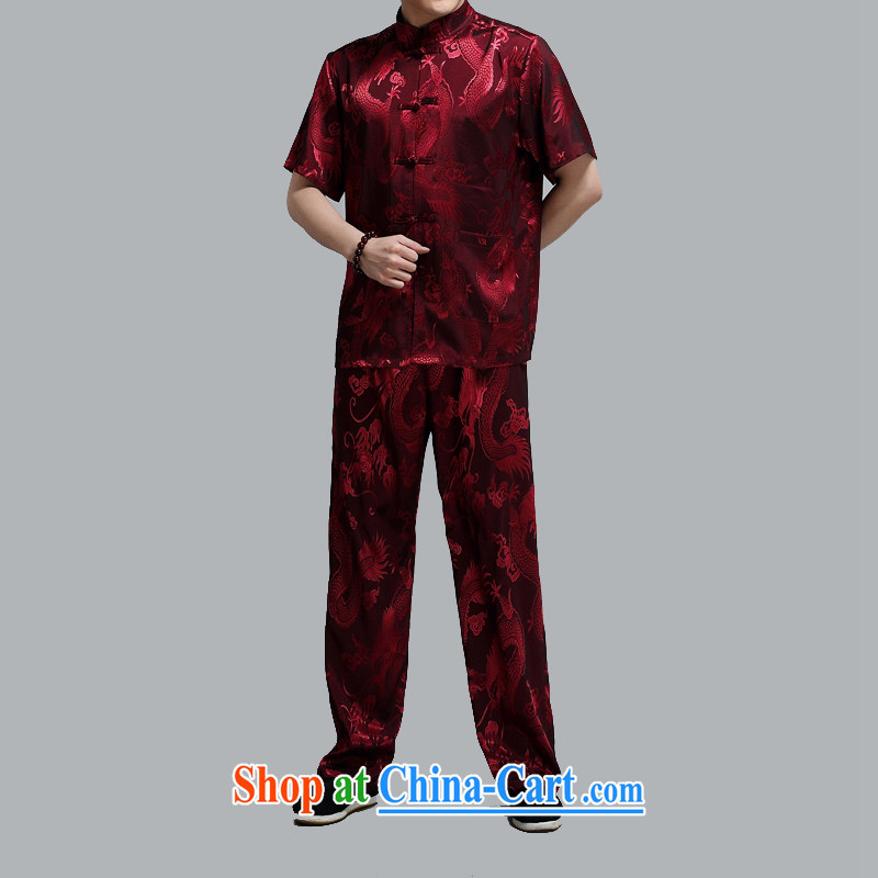The summer, men, older short-sleeved Tang loaded package of older persons leisure Chinese men's father is the red 4 XL/190, the Tony Blair (AICAROLINA), shopping on the Internet