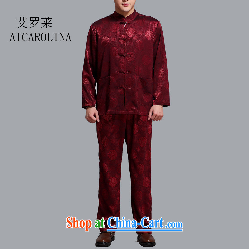 The Carolina boys men's summer middle-aged and older Chinese men and long-sleeved kit, clothing middle-aged father older persons with Tang maroon 4 XL_190