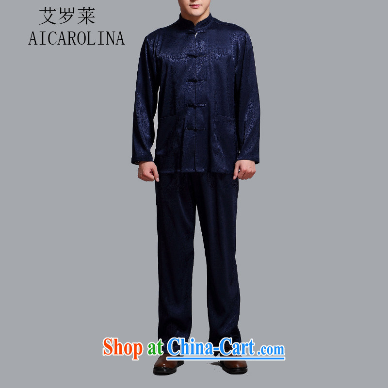 The Carolina boys men's T-shirt middle-aged and older Chinese men's long-sleeved Chinese cynosure serving Middle-aged Leisure package blue 4 XL_190