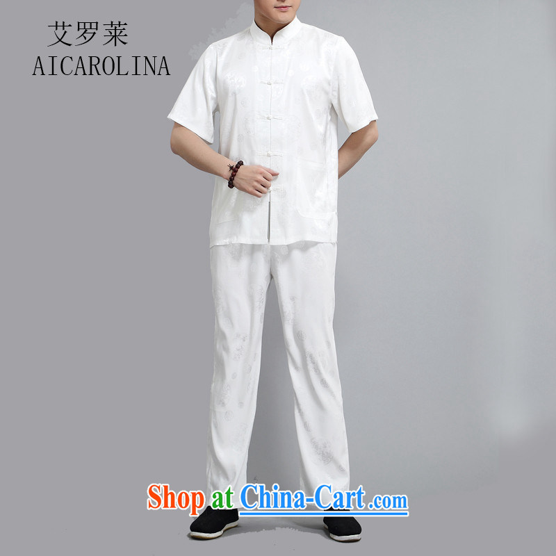 The Luo, summer 2015 new Chinese Han-hon Michael Mak Kwok-fung middle-aged men's short sleeve fitted dress white 4XL/190