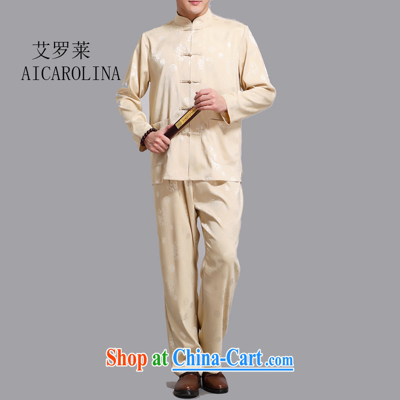 The spring, summer new, middle-aged men's long-sleeved Kit middle-aged and older men's T-shirt Long-Sleeve Tang loaded gold L/170