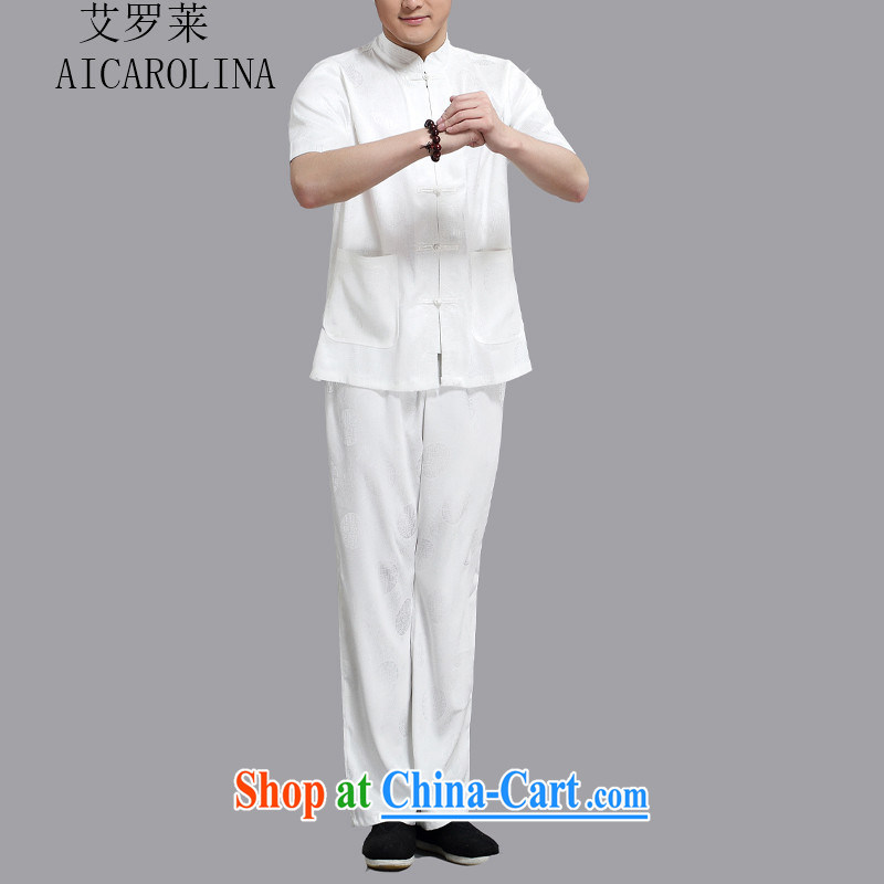 The 2015, middle-aged men with short T-shirt with short sleeves, older men's Summer Package white 4XL/190