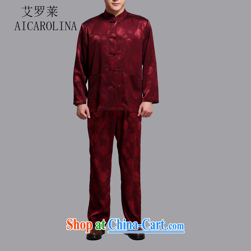 The Carolina boys middle-aged and older people men Chinese Chinese long-sleeved Chinese wind jacket Kit middle-aged men and spring loaded maroon 4 XL_190