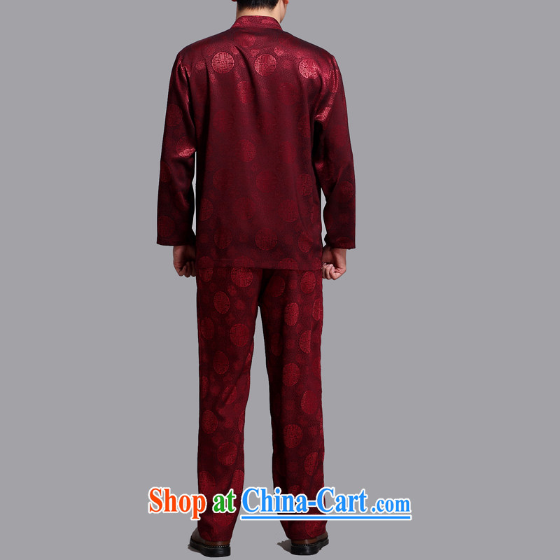 The Carolina boys older persons in male Chinese Chinese long-sleeved Chinese wind T-shirt Kit middle-aged men and spring loaded maroon 4 XL/190, the Tony Blair (AICAROLINA), and, on-line shopping