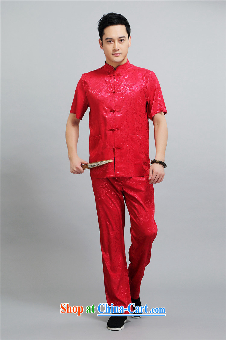 The Carolina boys men's middle-aged and older Chinese men's short-sleeved middle-aged father older persons with short package half sleeve China wind male red 4 XL/190 pictures, price, brand platters! Elections are good character, the national distribution, so why buy now enjoy more preferential! Health