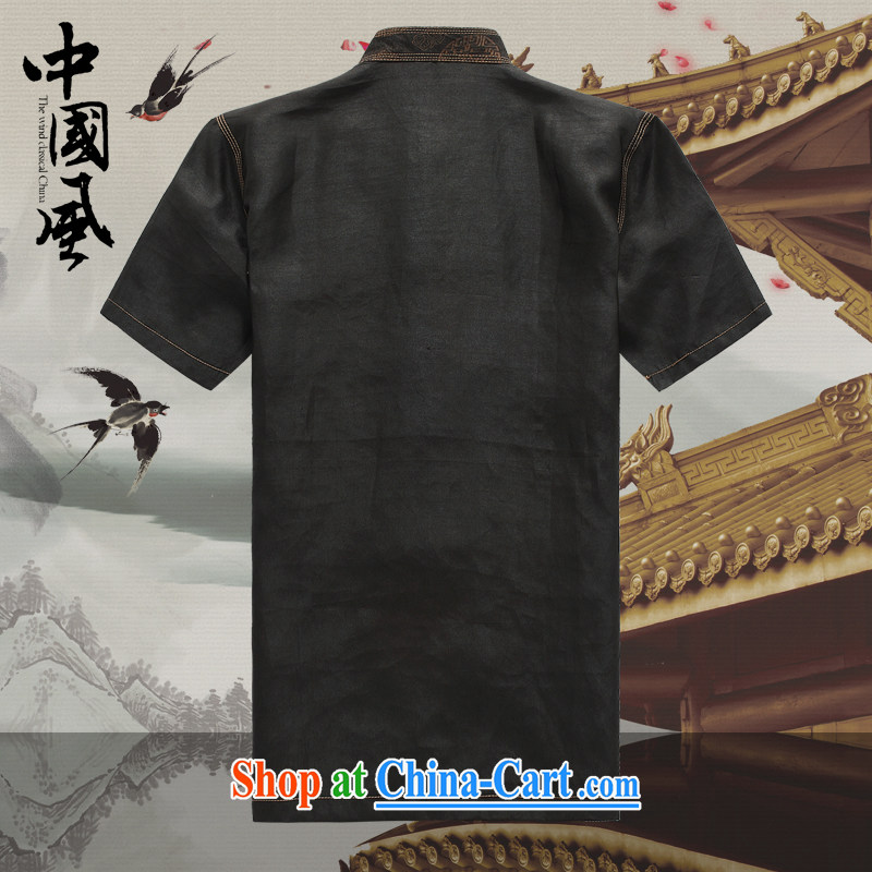 Chinese men and a short-sleeved T-shirt in summer, and Tang on the Shannon cloud yarn is silk, old Tang is short-sleeved father replace D 527 black XXXL, JACK EVIS, shopping on the Internet