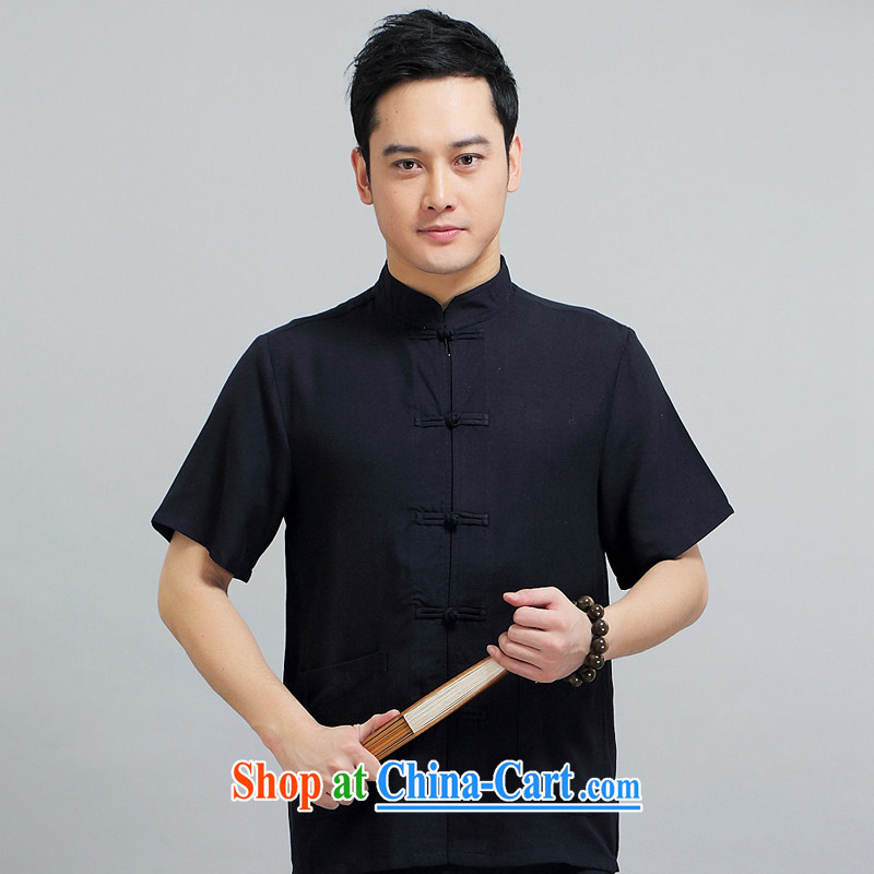 Chinese men and short-sleeve kit AMOI, older men's cotton Ma Man Tang with jogging clothes exercise clothing Tai Chi uniforms father 1509 installed package black 180