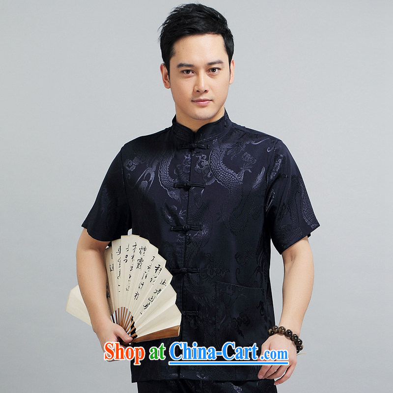 Chinese men and short-sleeve kit AMOI, older men's cotton Ma Man Tang with morning exercises. exercise clothing Tai Chi uniforms father loaded 1505 Bluetooth Kit 190
