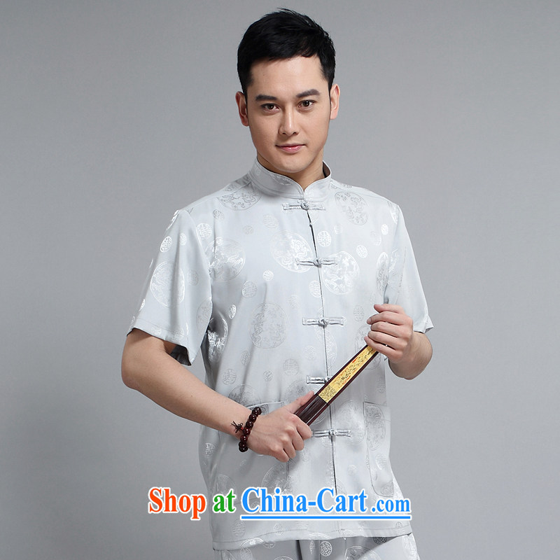 Chinese men and short-sleeve kit AMOI, older men's cotton Ma Man Tang with morning exercises. exercise clothing Tai Chi uniforms father loaded 1502 gray Kit 170