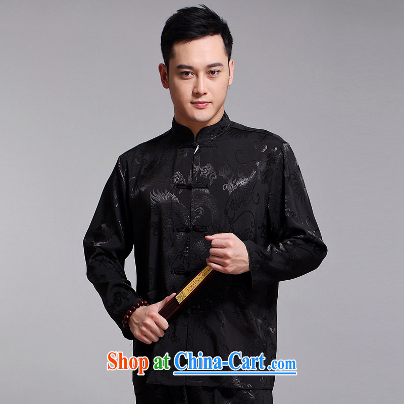 Chinese men set new, older men's Sauna silk morning exercise clothing exercise clothing Tai Chi Kit long-sleeved Tang replace 1519 black 190