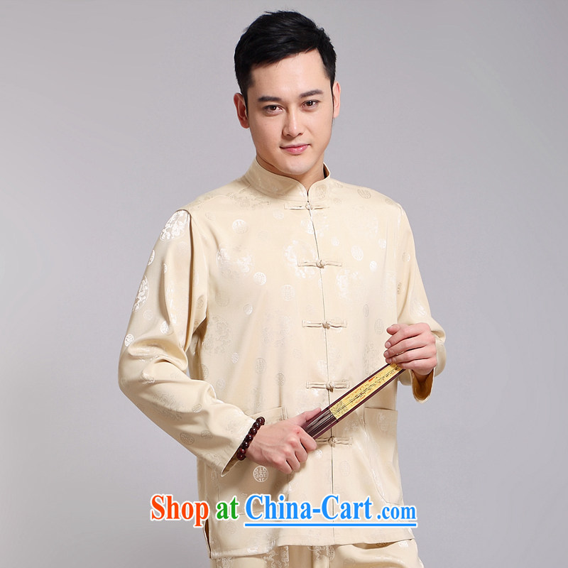 Chinese men and set new, older men's Sauna silk morning exercise clothing exercise clothing Tai Chi Kit long-sleeved Tang replace 1516 Wong 170