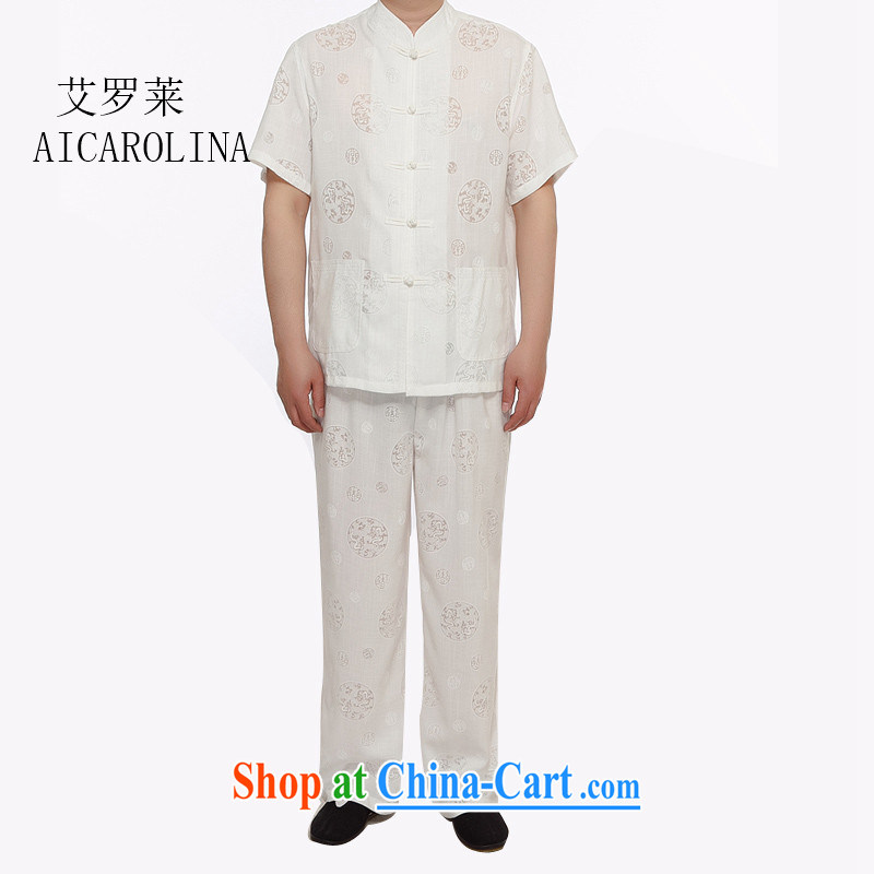 The summer, Chinese men's linen short sleeved T-shirt new Chinese T-shirt Chinese wind-buckle up for Chinese Package white XXXL