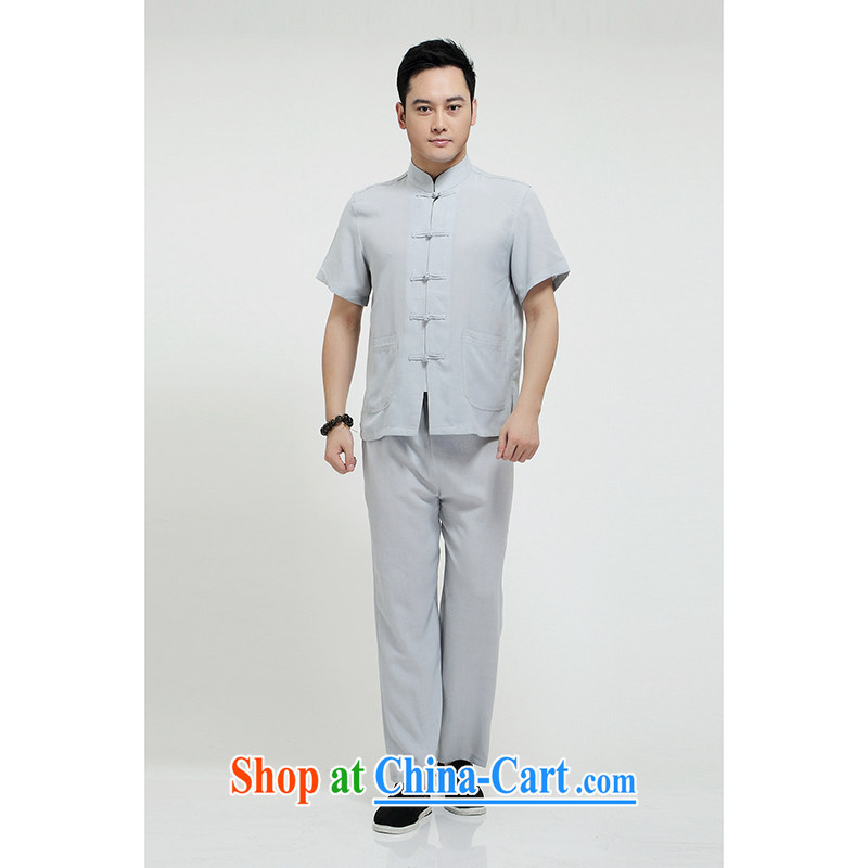 100 brigade Bailv summer stylish thin disk for casual, short-sleeved comfortable elasticated trousers men's kit light gray 190