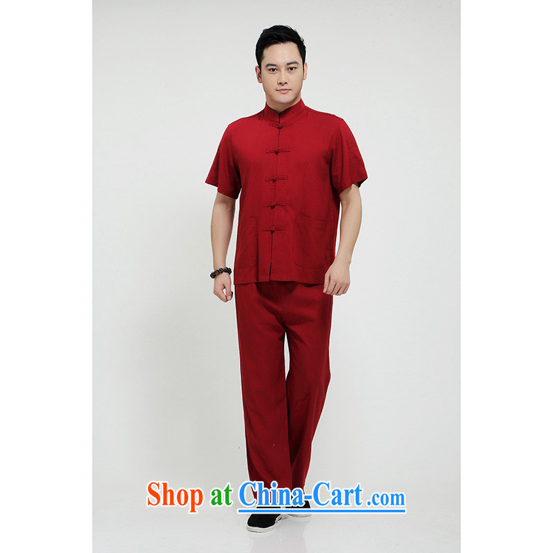 100 brigade Bailv summer stylish thin disk for casual, short-sleeved comfortable elasticated trousers men's package deep red 190