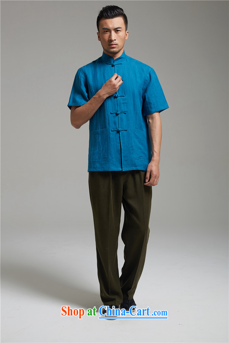 De-tong water linen men's Chinese short-sleeved T-shirt summer Chinese-tie shirt cool breathable China wind men's army green XXL pictures, price, brand platters! Elections are good character, the national distribution, so why buy now enjoy more preferential! Health