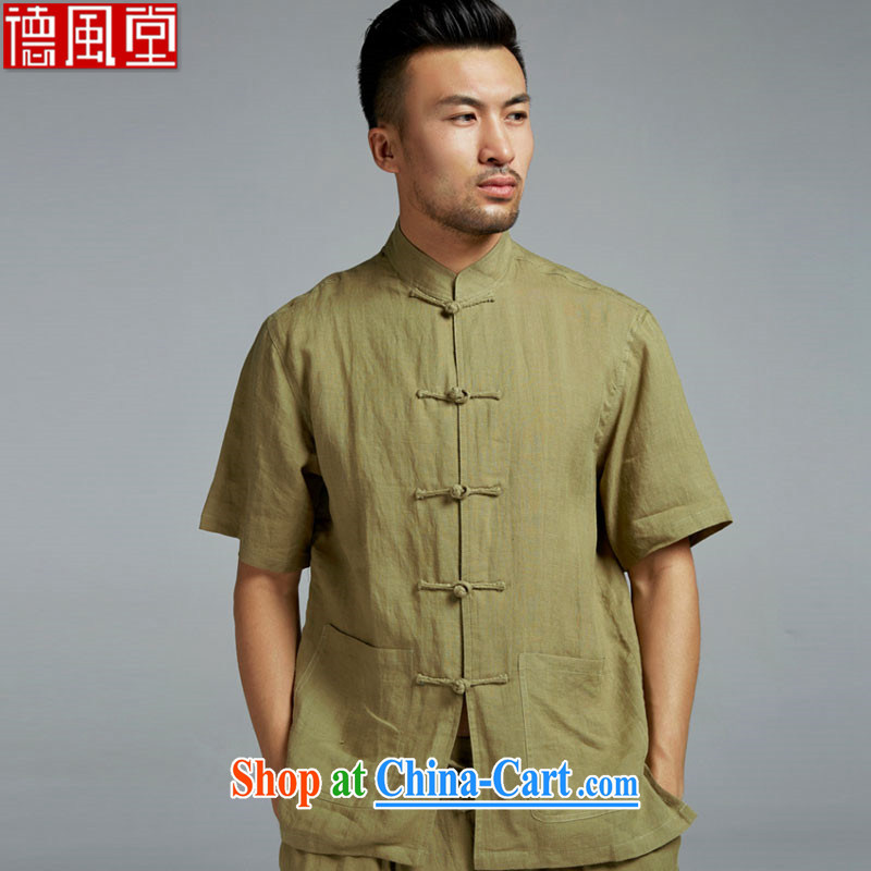 De-tong water linen men's Chinese short-sleeved T-shirt summer Chinese-tie shirt cool breathable China wind men's army green XXL, wind, and shopping on the Internet