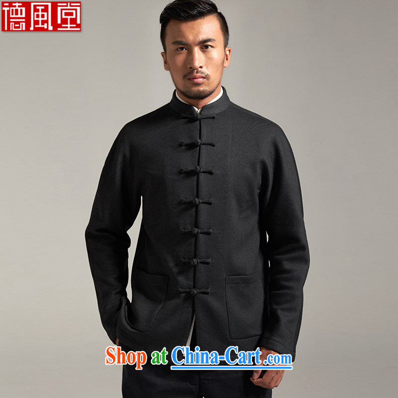 De-tong tianjiao upscale men's Chinese 2015 autumn and winter long-sleeved jacket pure Chinese anti-wrinkle-shoulder older Chinese Wind and dark green XXXL