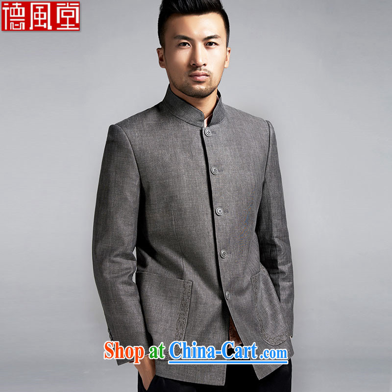De-Tong East Sunbeam original Chinese Generalissimo T-shirt Chinese boy, who was under renovation in men's jackets China wind dark gray XXXL