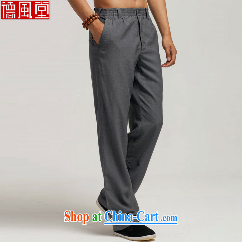 De-Tong Chun-line summer 2015 the Chinese men's trousers Elasticated waist Chinese pants boutique embroidery original Chinese wind male black XXXL