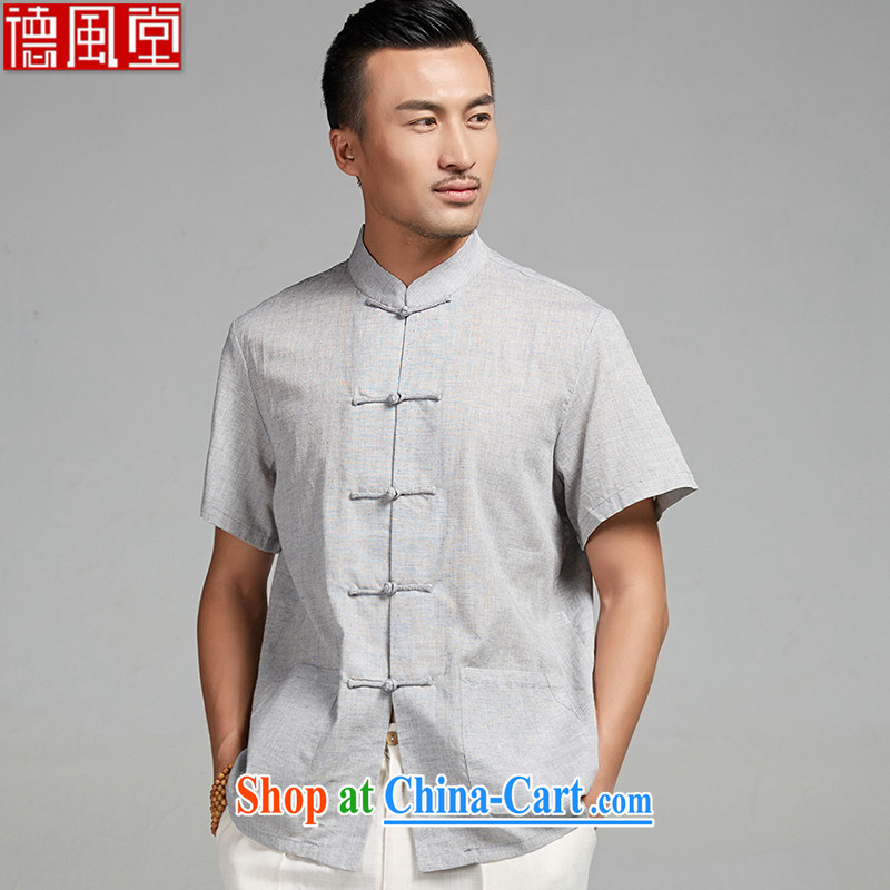 De-tong cicada wing 2015 new summer cotton mA short-sleeve hand-tie men's Chinese Youth shirt thin Chinese clothing gray 4 XL
