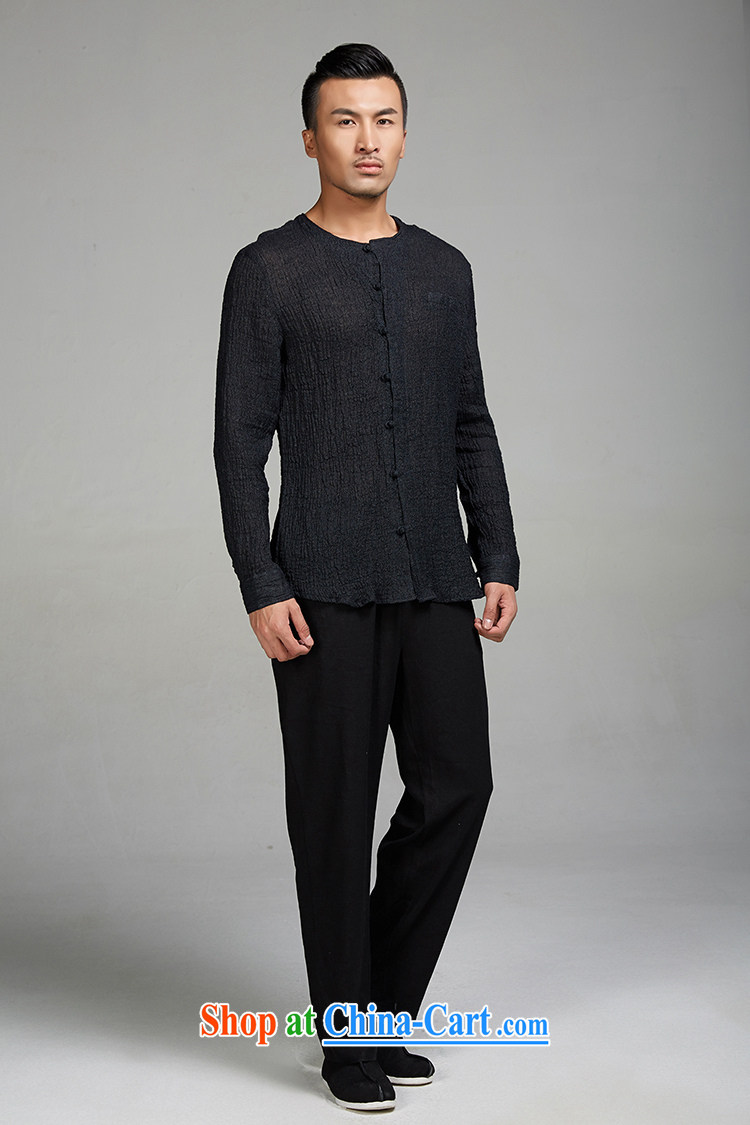 De-Tong Ching virtual 2015 new ramie cloth long-sleeved Chinese wind men Tang with solid T-shirt youth, no collar shirt Chinese clothing black XXL pictures, price, brand platters! Elections are good character, the national distribution, so why buy now enjoy more preferential! Health