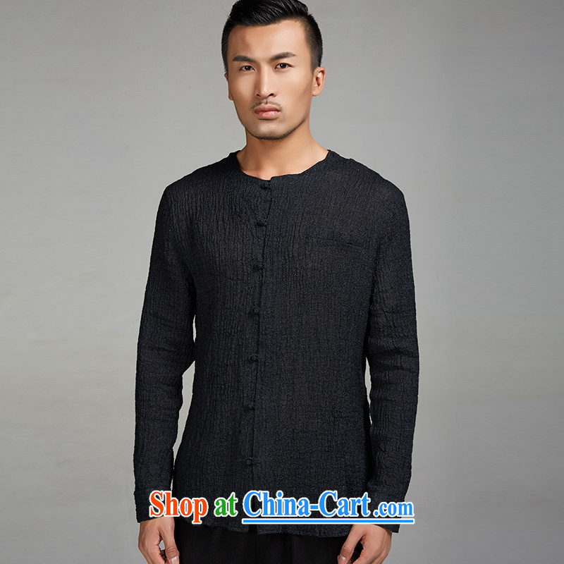 De-Tong Ching virtual 2015 new ramie cloth long-sleeved Chinese wind men Tang with solid T-shirt youth, no collar shirt Chinese clothing聽black XXL, de-tong, shopping on the Internet
