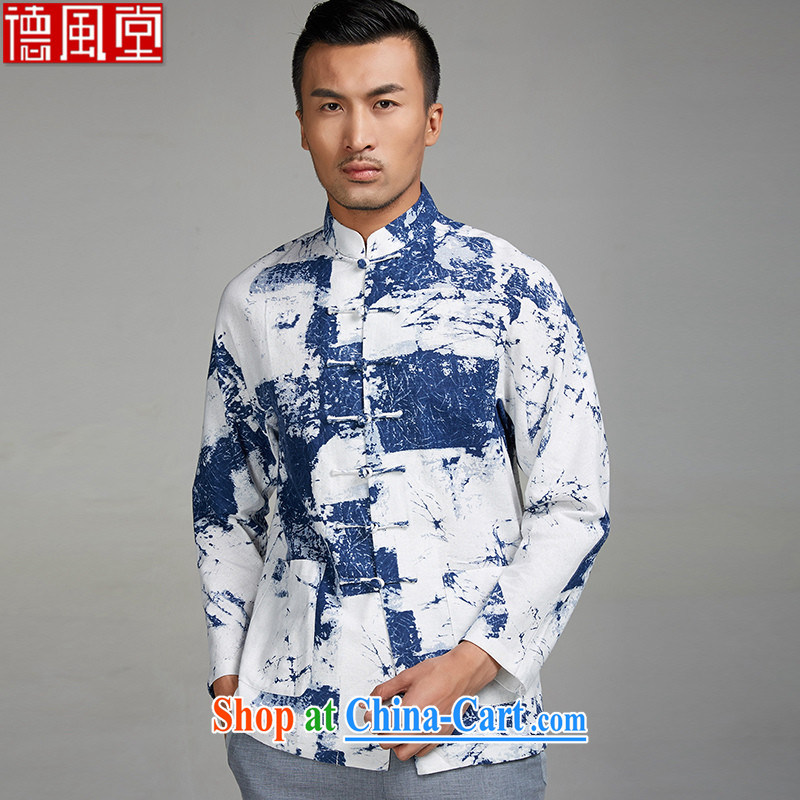 De-tong the Jun 2015 new 100% Cotton Men's short with long-sleeved T-shirt Chinese, T-shirts with side pockets blue-and-white XXXL