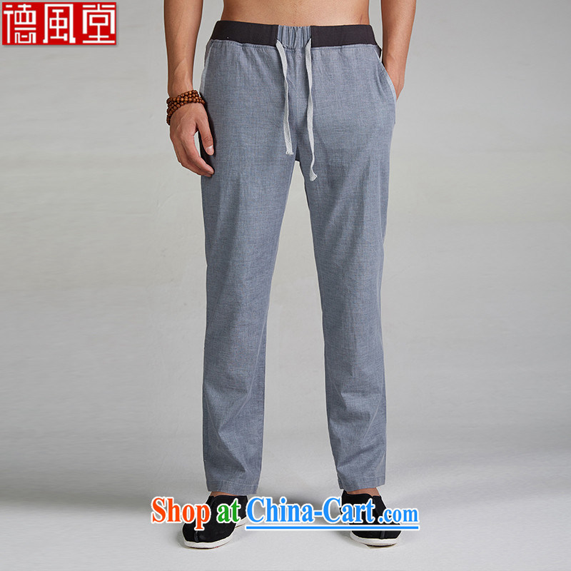 De-tong by mine 2015 Spring and Autumn new Chinese men's trousers cotton Ma Chinese pants tapestry waist elastic waist Chinese clothing light blue XXXL