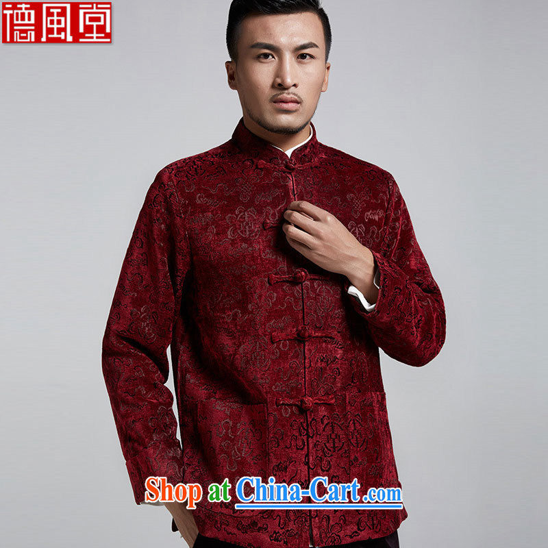 De-Tong Ling Standard & Poors 2015 autumn and winter so gross young men with short, thick Chinese jacket jacquard to shoulder the cuff 4 Uhlans on XL