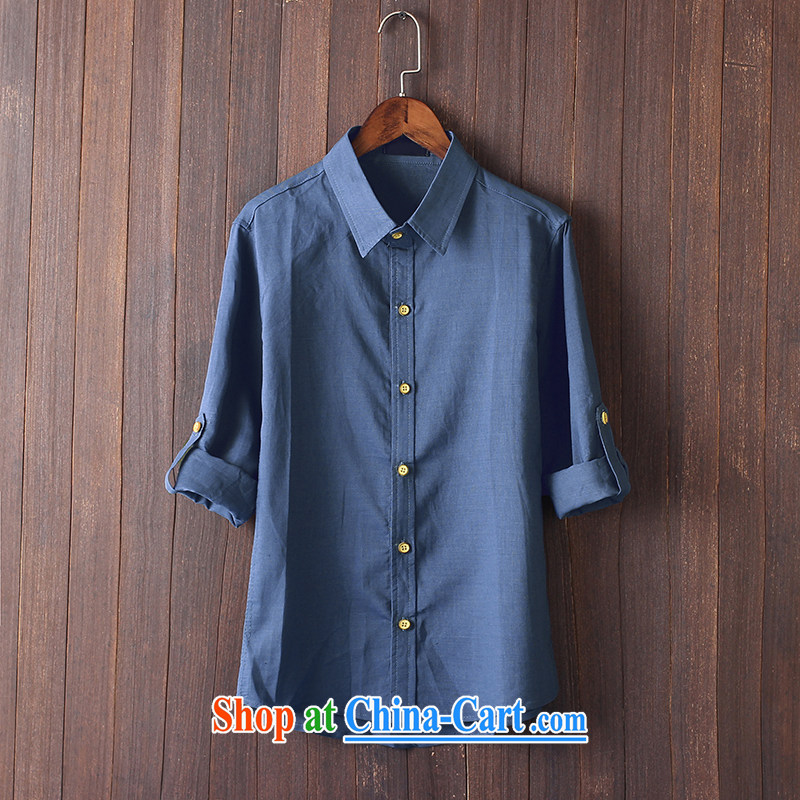 Extreme first summer 2015 men's Chinese shirt China wind culture T-shirt long-sleeved shirts arm cuff linen shirt Peacock Blue XXL