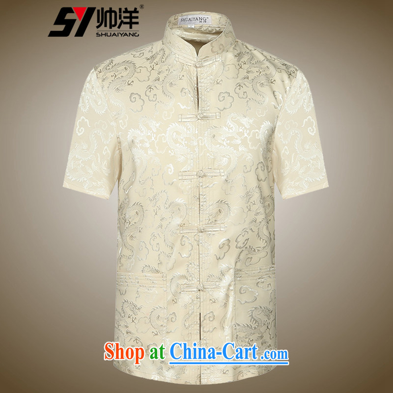 cool ocean 2015 New Men's Chinese short-sleeved shirt summer China wind men's T-shirt Chinese Dress m yellow 43_190