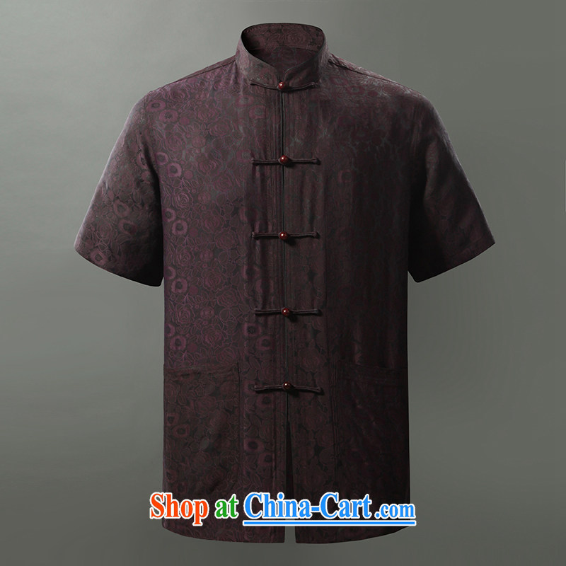 Tibetan swords into plowshares 2015 summer boutique silk fragrant cloud yarn Tang on the port, short-sleeved shirt dark purple 158,015 190_XXXL