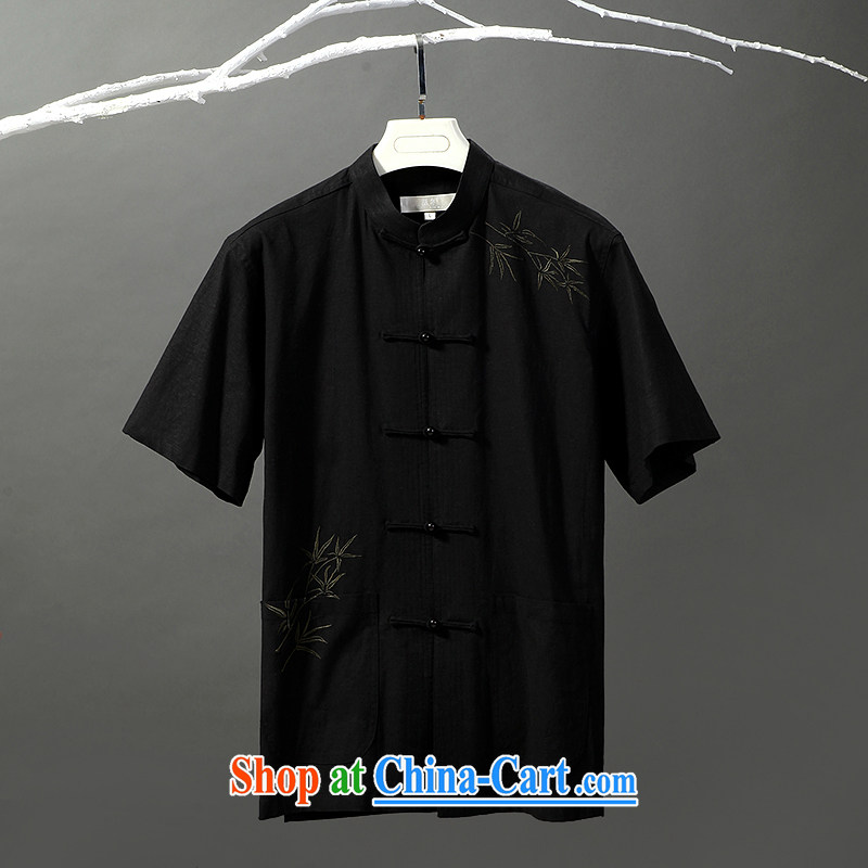 Tibetan swords into plowshares men's short-sleeved cotton the commission is deducted, in older Chinese 158,019 black 190_XXXL