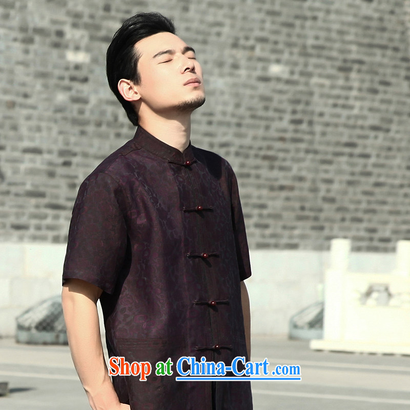 Tibetan swords into plowshares 2015 summer boutique silk fragrant cloud yarn T-shirt with short sleeves China wind traditional clothing dark purple 158,015 180_XL