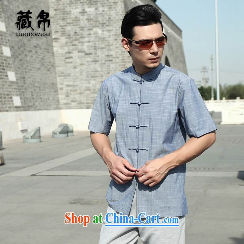 Tibetan swords into plowshares men's summer short with cotton worsted T-shirt with short sleeves and collar-tie China wind blue 158,018 175/L