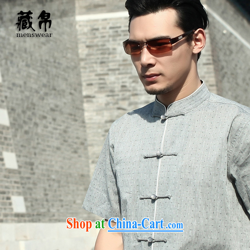 Tibetan swords into plowshares men's summer Chinese cotton blended the short clip, short-sleeved shirt China wind gray 158,020 190_XXXL